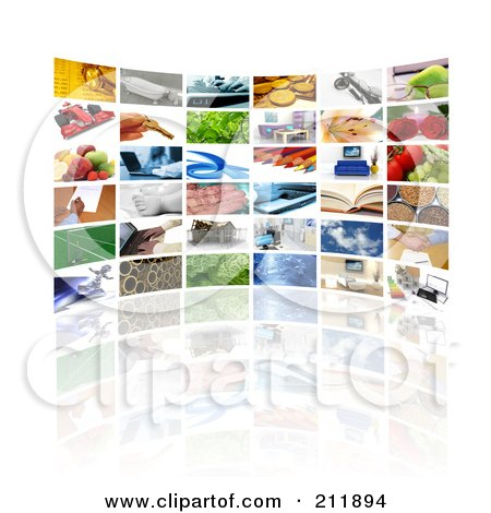Royalty-Free (RF) Clipart Illustration of a Curved Wall Of Images Displayed On Tv Screens by KJ Pargeter