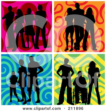 Royalty-Free (RF) Clipart Illustration of a Digital Collage Of Groups Of Silhouetted People Over Colorful Backgrounds by KJ Pargeter
