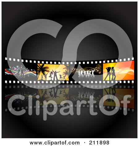 Royalty-Free (RF) Clipart Illustration of a Wall Of Dancing Film Strips Over Black by KJ Pargeter