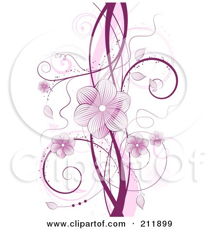 Royalty-Free (RF) Clipart Illustration of a Purple Floral Vine With Blossoms And Tendrils Over White by KJ Pargeter