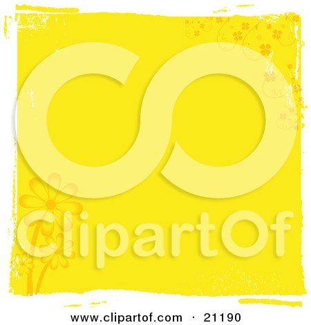 Clipart Illustration of Yellow Daisies Flowering In The Spring Over A Yellow Grunge Background by elaineitalia