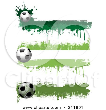 Royalty-Free (RF) Clipart Illustration of a Digital Collage Of Three Grungy Green Soccer Ball Website Header Designs by KJ Pargeter