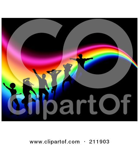 Royalty-Free (RF) Clipart Illustration of a Background Of Silhouetted Dancers Over A Wavy Rainbow On Black by KJ Pargeter