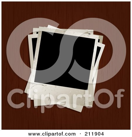 Royalty-Free (RF) Clipart Illustration of a Pile Of Blank Pictures On A Wooden Surface by KJ Pargeter
