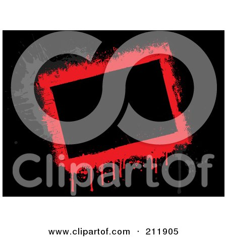 Royalty-Free (RF) Clipart Illustration of a Grungy Dripping Red And Gray Border Over Black by KJ Pargeter