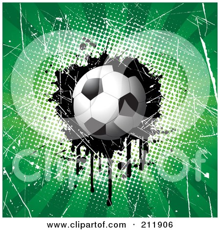 Royalty-Free (RF) Clipart Illustration of a Soccer Ball On A Grungy Halftone, Scratched And Dripping Background by KJ Pargeter