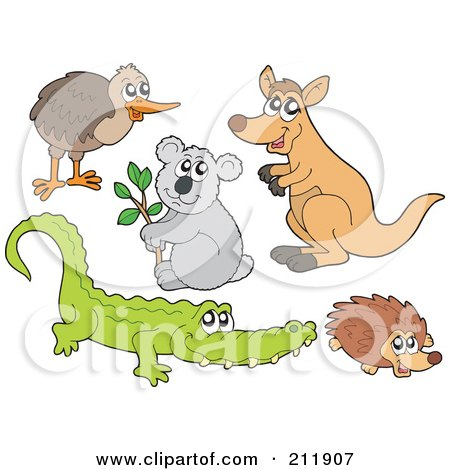 Royalty-Free (RF) Clipart Illustration of a Digital Collage Of A Kiwi Bird, Koala, Kangaroo, Crocodile And Hedgehog by visekart