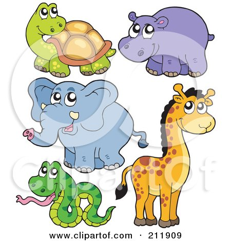 Royalty-Free (RF) Clipart Illustration of a Digital Collage Of A Cute Tortoise, Hippo, Elephant, Giraffe And Snake by visekart