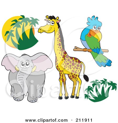 Royalty-Free (RF) Clipart Illustration of a Digital Collage Of Palm Trees, Elephant, Giraffe And Parrot by visekart