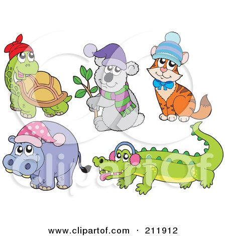 Royalty-Free (RF) Clipart Illustration of a Digital Collage Of A Tortoise, Koala, Cat, Hippo And Crocodile by visekart