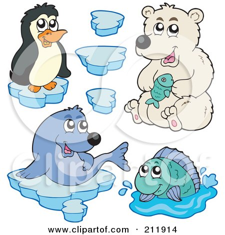 Royalty-Free (RF) Clipart Illustration of a Digital Collage Of A Cute Penguin, Polar Bear, Seal, Fish And Ice by visekart