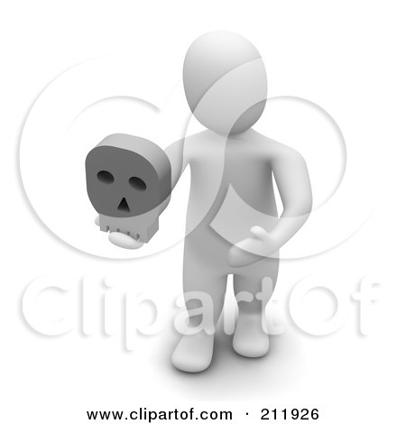 Royalty-Free (RF) Clipart Illustration of a 3d Blanco Man Facing Front And Holding A Skull by Jiri Moucka