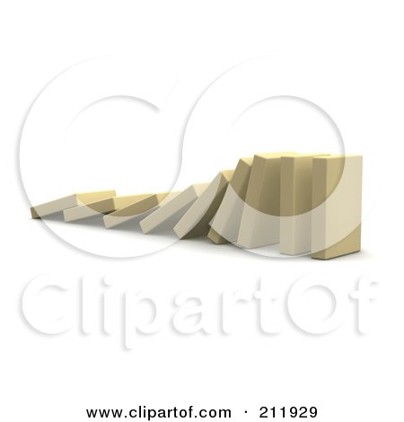 Royalty-Free (RF) Clipart Illustration of a 3d Row Of Falling Blocks by Jiri Moucka