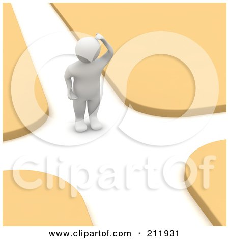 Royalty-Free (RF) Clipart Illustration of a 3d Blanco Man Standing In The Middle Of A Crossroad by Jiri Moucka