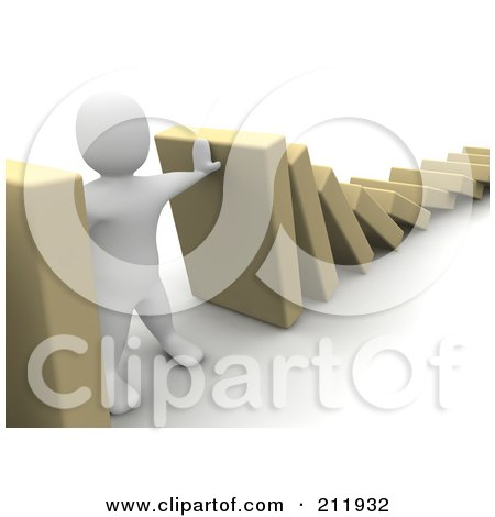 Royalty-Free (RF) Clipart Illustration of a 3d Blanco Character Preventing Blocks From Falling by Jiri Moucka