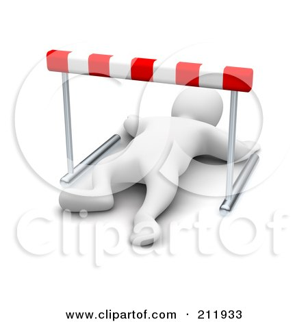 Royalty-Free (RF) Clipart Illustration of a 3d Blanco Man Knocked Out Under A Hurdle by Jiri Moucka