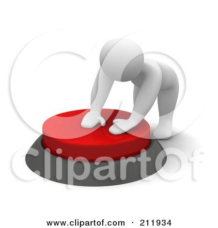 Royalty-Free (RF) Clipart Illustration of a 3d Blanco Man Pushing Down A Big Red Button by Jiri Moucka