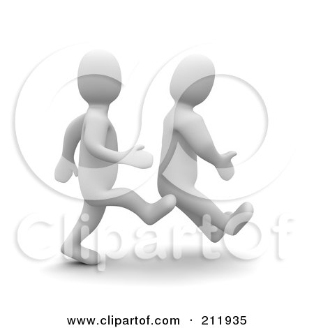 Royalty-Free (RF) Clipart Illustration of a 3d Blanco Man Kicking Another On The Butt by Jiri Moucka