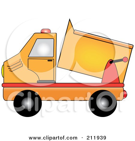 Royalty-Free (RF) Clipart Illustration of an Orange Dump Truck by Pams Clipart
