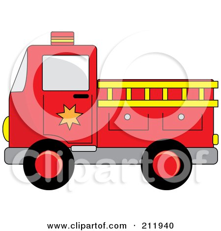 Royalty-Free (RF) Clipart Illustration of a Red Fire Truck With A Yellow Ladder by Pams Clipart