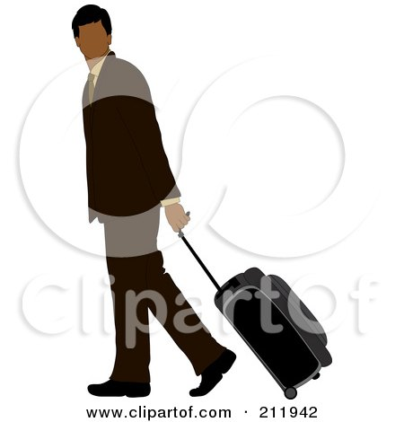 Royalty-Free (RF) Clipart Illustration of a Faceless Black Businessman In A Brown Suit, Walking And Pulling Rolling Luggage by Pams Clipart