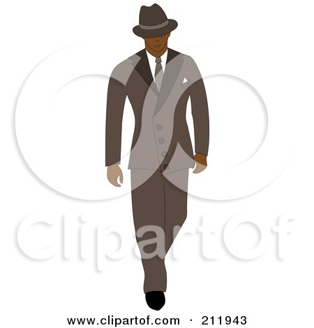 Royalty-Free (RF) Clipart Illustration of a 40s Styled Black Businessman Walking In A Blue Suit by Pams Clipart