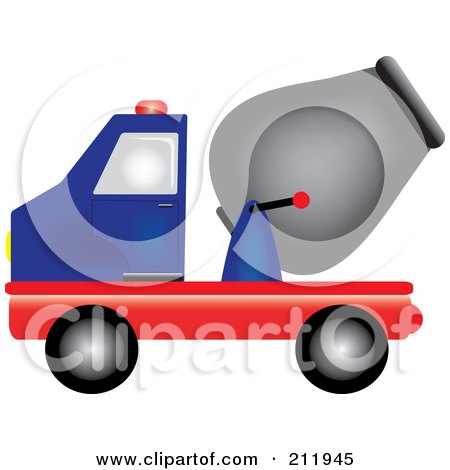 Royalty-Free (RF) Clipart Illustration of a Blue And Red Cement Truck In Profile by Pams Clipart