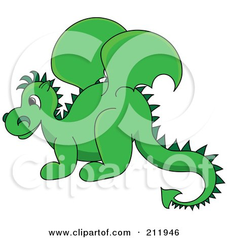 Cute Green Baby Dragon In Profile Posters, Art Prints