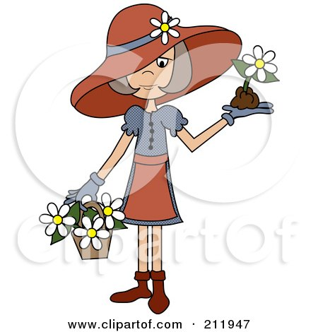 Royalty-Free (RF) Clipart Illustration of a Senior Lady In A Hat, With Flowers In A Basket And A Flower In Her Hand by Pams Clipart