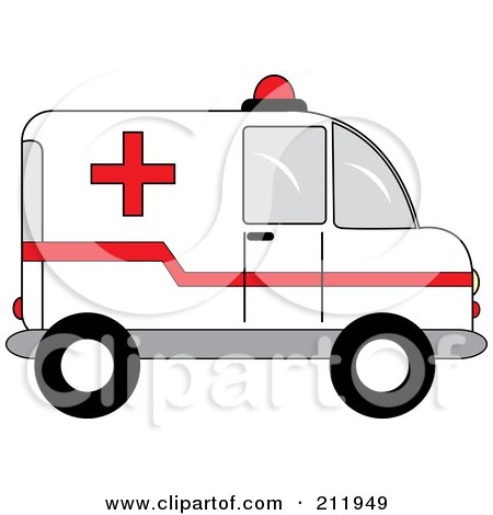 Royalty-Free (RF) Clipart Illustration of a Red And White Ambulance In Profile by Pams Clipart