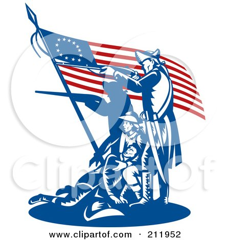 Royalty free rf clipart illustration of a flag and for American revolutionary war tattoos