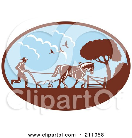 Royalty-Free (RF) Clipart Illustration of a Farmer And Horse Plowing A Field by patrimonio