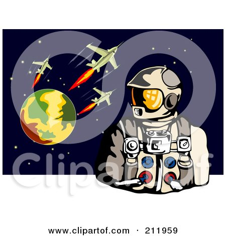 Royalty-Free (RF) Clipart Illustration of an Astronaut With A Planet And Rockets by patrimonio
