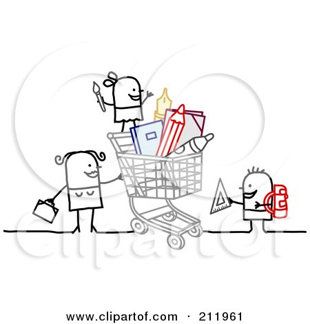 Royalty-Free (RF) Clipart Illustration of a Stick Woman Shopping With Children by NL shop