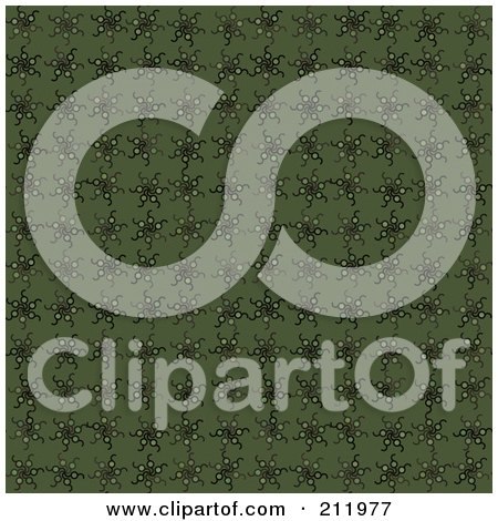 Royalty-Free (RF) Clipart Illustration of a Seamless Repeat Background Of Green Spinning Stars by chrisroll