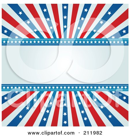 Royalty-Free (RF) Clipart Illustration of a Blue Text Space Bordered With American Stars And Stripes by Pushkin