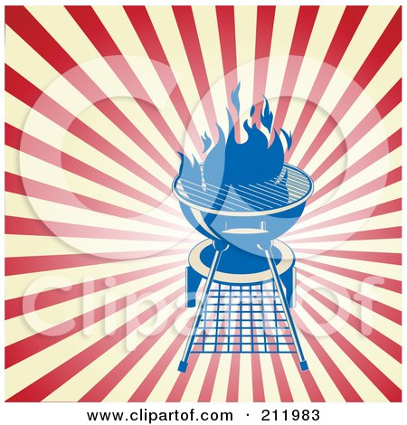 Royalty-Free (RF) Clipart Illustration of a Blue Charcoal Grill Over Beige And Red Rays by Pushkin