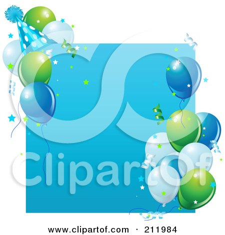 Royalty-Free (RF) Clipart Illustration of a Blue Birthday Party Sign With Balloons, A Party Hat And Confetti by Pushkin