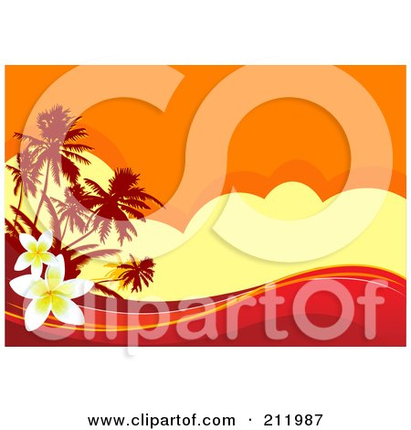 Royalty-Free (RF) Clipart Illustration of a Hot Tropical Sunset Background With Red Waves And Plumeria Flowers by Pushkin