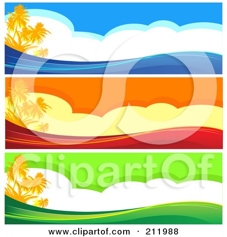 Royalty-Free (RF) Clipart Illustration of a Digital Collage Of Three Colorful Tropical Island Website Borders by Pushkin