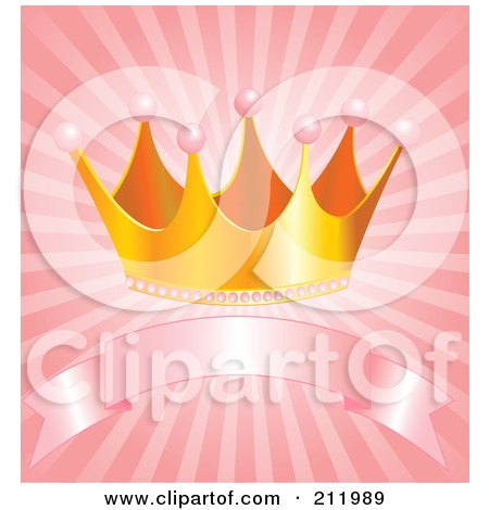 Royalty-Free (RF) Clipart Illustration of a Golden Princess Crown Over A Ribbon Banner On Pink Rays by Pushkin