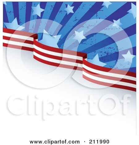 Royalty-Free (RF) Clipart Illustration of a Top Edge Of Grungy American Stars And Stripes Over Gray And White by Pushkin