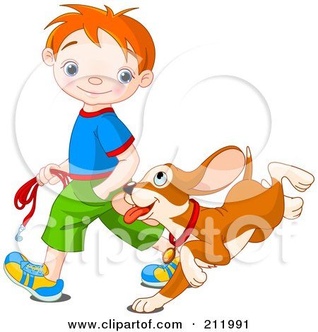 Happy Red Haired Boy Walking His Puppy Posters, Art Prints