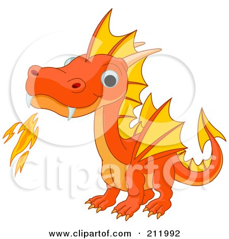 Royalty-Free (RF) Clipart Illustration of a Cute Orange Baby Dragon Breathing Fire by Pushkin