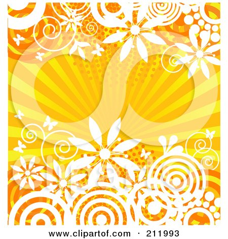 Royalty-Free (RF) Clipart Illustration of an Orange Burst And Floral Background by Pushkin