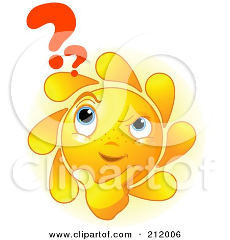 Royalty-Free (RF) Clipart Illustration of a Confused Sun Face Thinking, With A Question Mark by Pushkin