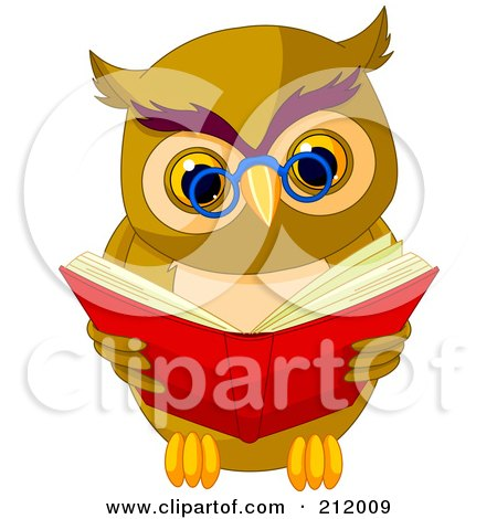 Royalty-Free (RF) Clipart Illustration of a Smart Owl Wearing Glasses And Reading A Book by Pushkin