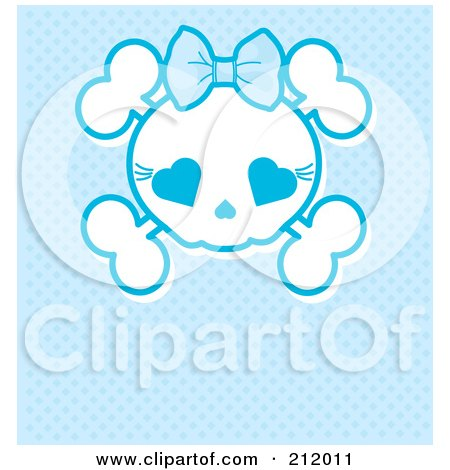 Royalty-Free (RF) Clipart Illustration of a Blue Girly Skull With A Bow by Pushkin