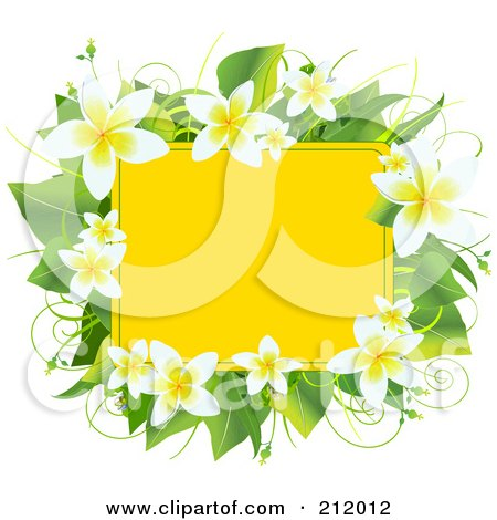 Royalty-Free (RF) Clipart Illustration of a Yellow Box Bordered With Plumeria Flowers And Green Leaves by Pushkin