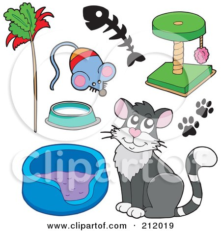 Royalty-Free (RF) Clipart Illustration of a Digital Collage Of A Cat With A Bed, Toys And Scratcher by visekart
